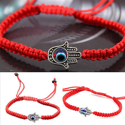 Good Luck Kabbalah BRACELET Hamsa Hand of GOD Evil Eye Adjustable Red String