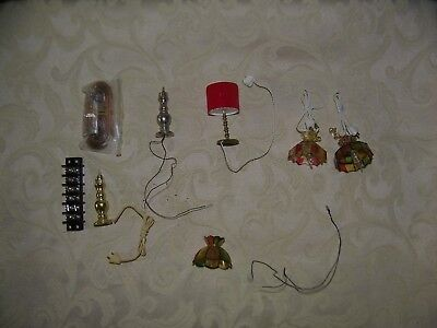 Group Of Dollhouse Miniature Table & Ceiling  Lamps & Hook Ups