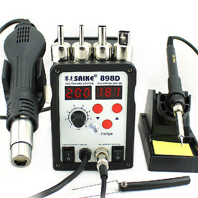 SMD BGA Rework Soldering Station 2 IN 1 Hot Air Gun & Soldering Iron SAIKE 898D