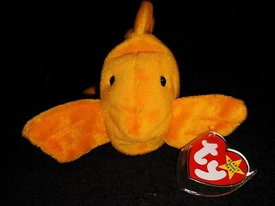 Ty Beanie Baby Goldie the Gold Fish   Style #4023, 1993 PVC, w/Errors MWMT