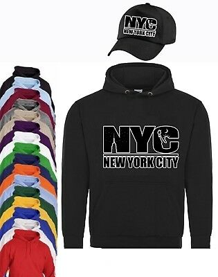 Newyork City Nyc Unisex Printed Hoodie + Baseball Cap Mens Womens Kids