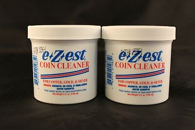 EZEST COIN CLEANER - COPPER + GOLD + SILVER CLEANER - 5 oz. JAR - 2 TOTAL