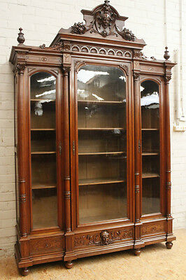 Large Antique French Renaissance Henry II 3 Door Bookcase Cabinet