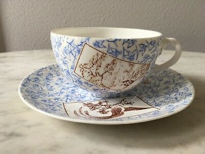 Antique Vintage Soup Cup and Saucer porcelain china with Japanese motif