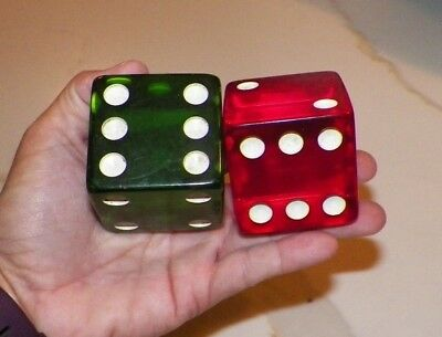 """Pair Of Vintage Large Lucite Acrylic Dice One Red One Green 2"""""""