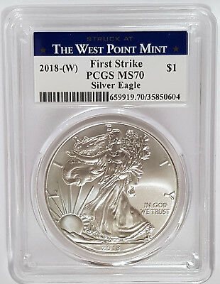 2018-(W) 1$ American Silver Eagle PCGS MS 70  -FIRST STRIKE-The West Point Mint-
