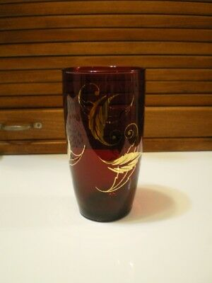 Vtg Cranberry Drinking Glass Ruby Red FANCY Gold GILT Christmas Tumbler Glass