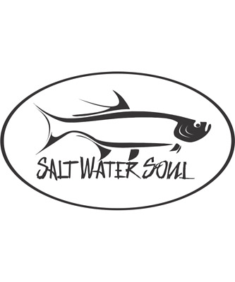 """SALTWATER SOUL Decal 8/"""" x 2/"""" White Letter Sticker"""