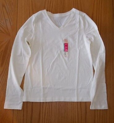 Girls Size 14/16 Faded Glory Long Sleeve V-Neck Cream Colored Shirt NWT