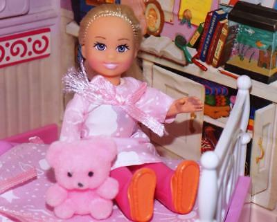 Pink nightgown with teddy bear set fits Fisher Price Loving Family Dollhouse Lot