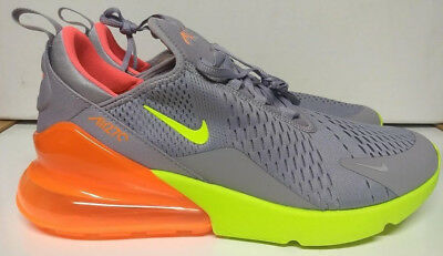 Nike Air Max 270 Size 10.5 Atmosphere Grey Volt Orange Mens Shoe AH8050-012