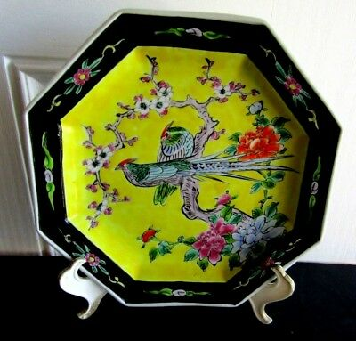 Antique Japanese 8 Sided Exotic Bird Bowl Old Colors Black, Orange Yellow Etc
