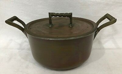 Antique Copper Cooking Pot with Lid and Solid Brass Handles Beautiful Display