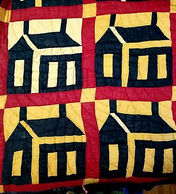 RARE Antique Early Handstitched Quilt Schoolhouse Patchwork Red Black Yellow Old