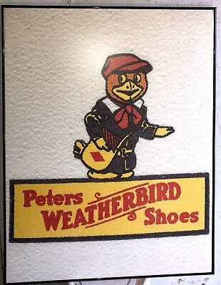 Original Peters Weatherbird Shoes Sign Large Framed