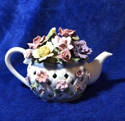 San Francisco Music Box Co - Anna Rosa Collection - Flowers in Teapot - Nice!
