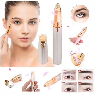 Women Electric Eyebrow Painless Hair Remover Brow Face Eyebrow Trimmer LED Light