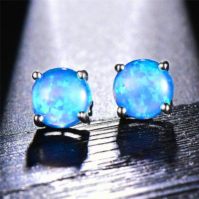 3145e75c0 925 Silver 7.4mm Round Fire Opal Stud Earrings Wedding Jewelry Gift 7Color  Chose