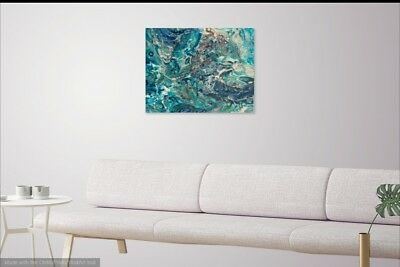 Abstract Fluid Painting Acrylic Flip Cup Pour Art on Canvas Turquoise 16x20