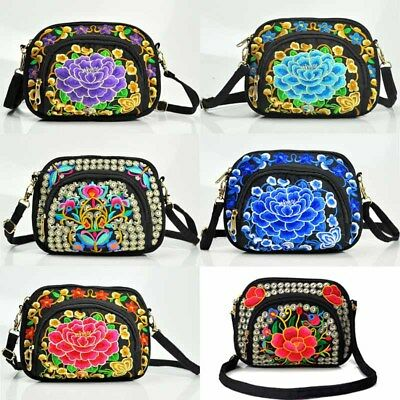 098cec8ea030 Women s Canvas Floral Embroidered Backpack Ethnic Travel Crossbody Shoulder  Bag