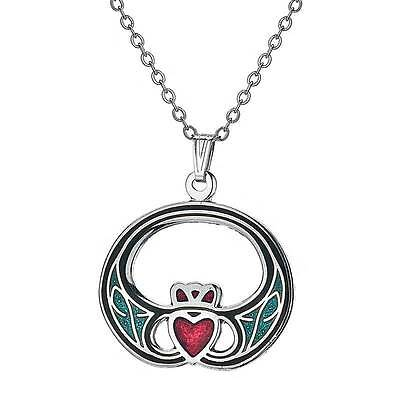 Celtic Silver Tone Green Red Enamel Modern Claddagh Charm Pendant Necklace