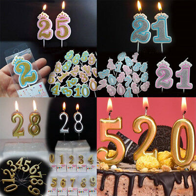 Glitter Gold Silver Birthday Candle 0 9 Number Party Cake Decoration Topper