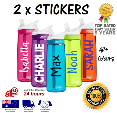2 x Water Bottle NAME LABELS / Personalised STICKERS, School, Gym, Bike, Drink