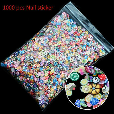 1000pcs 3D Fruit Animals Fimo Slice Clay DIY Nail Art Tips Sticker Decoration JF
