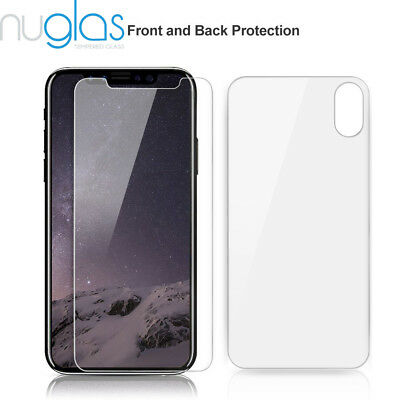 2x IPHONE X FRONT +BACK(SET)  Nuglas Tempered glass screen protector
