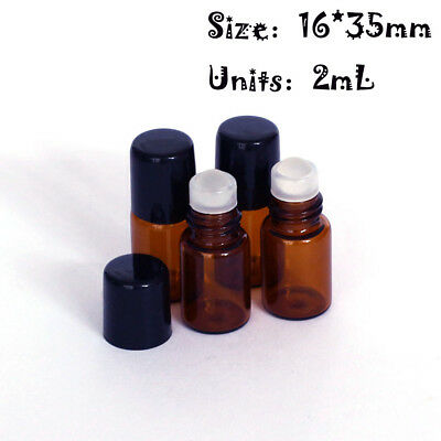 12pcs 2ml(16*35mm) Roll On Glass AmberBall Essential Oil Glass Roller Bottle