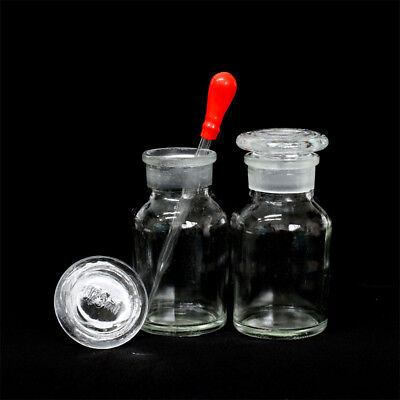 1-10pcs Clear Wide Mouth Ground Stopper Glass with Drop Reagent Bottle 125ml#