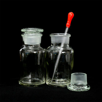 1-10pcs Clear Wide Mouth Ground Glass Stopper with Drop Reagent Bottle 250ml