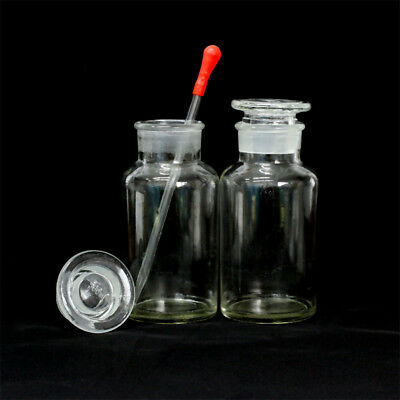 1/3/5pcs Clear Wide Mouth Ground Glass Stopper with Drop Reagent Bottle 500ml#