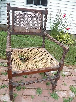 Antique 19th Century Renaissance Revival Barley Twist Cane Chair Needs Restored