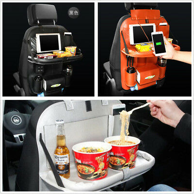 PU Leather Car Seat Back Bag Organizer Travel Plate Pocket Bag With 4USB Charger