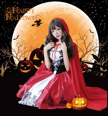 Halloween Cosplay Little Red Riding Hood Cloak Dress Party Role Play Costume
