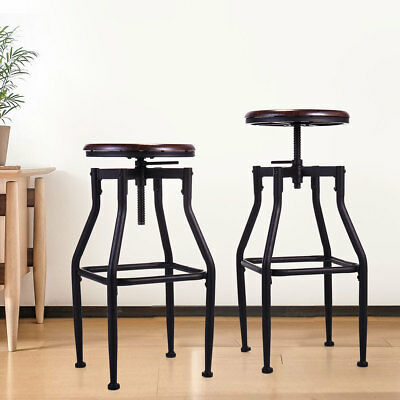 Awe Inspiring Set Of 2 Bar Stool Industrial Metal Design Wood Top Squirreltailoven Fun Painted Chair Ideas Images Squirreltailovenorg