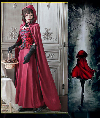 Halloween Cosplay Little Red Riding Hood Cloak Dress Party Role Play Costume#28