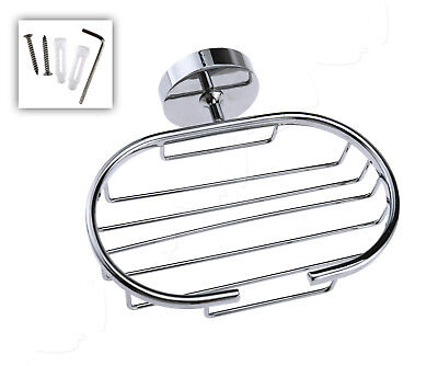 Stainless Steel Chrome Bathroom Wall Mounted Soap Dish Holder Tray Basket Stand