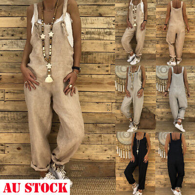 AU NEW Women's Jumpsuit Romper Dungarees Sleeveless Overall Loose Trousers Pants