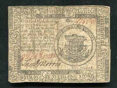 Cc-11 November 29, 1775 $1 One Dollar Continental Currency Note