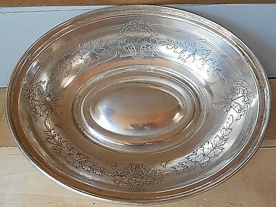 Antique french Silverplate BASKET BREAD DISH   : engraved  TORCHS