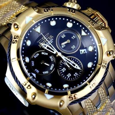 Invicta Subaqua Poseidon Bolt Chronograph Gold Plated Steel Black 50mm Watch New