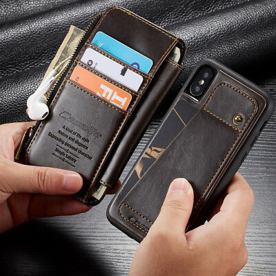 For iPhone XS Max 7/8 Plus Leather Removable Flip Wallet Card Zipper Case Cover