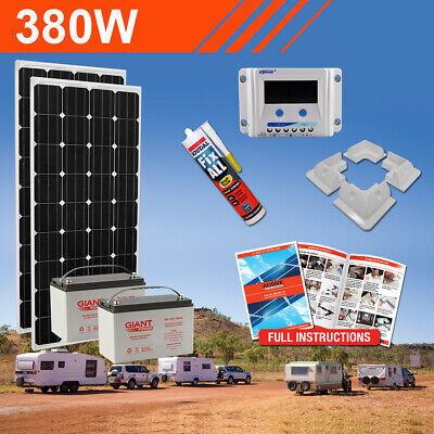380W 12V Complete DIY Solar Kit (2x190W) with Batteries