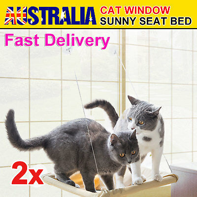 2x Cat Window Mounted bed Seat Pets Sunny Hammock Cover Washable