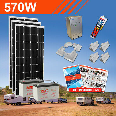 570W 12V Complete DIY Solar Kit (3x190W) with Batteries