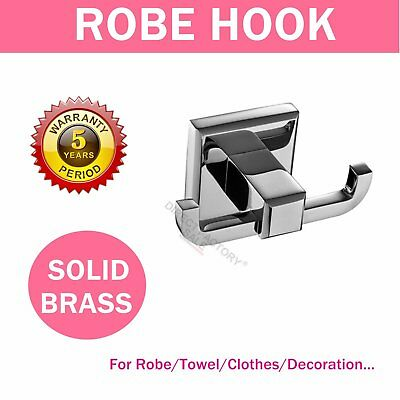 Chrome Double Wall Hook Robe Towel Clothes Coat Holder Hanger Solid Brass Square