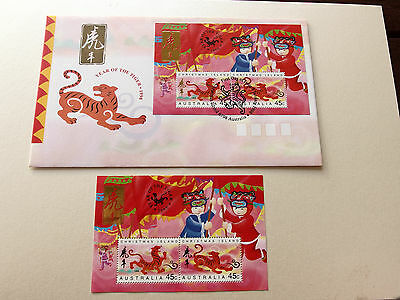 1998 Christmas Island - Year of The Tiger (Mini Sheet) MNH + FDC