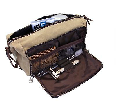d9993bebd2a DOPP Kit Mens Toiletry Travel Bag YKK Zipper Canvas Leather (Medium, Khaki  - 3